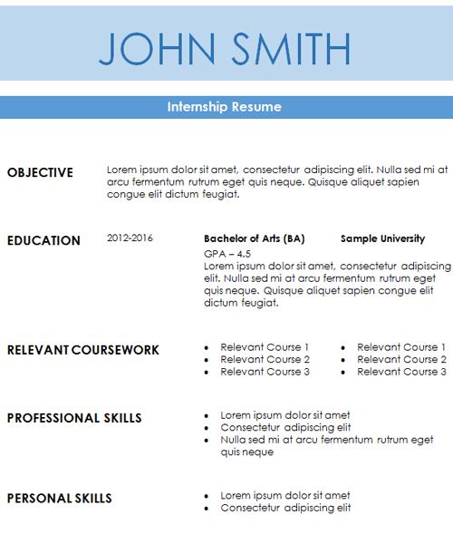 Advertising Internship Resume