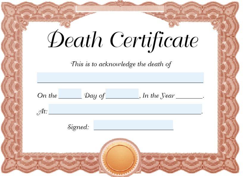 Death Certificate Template 02