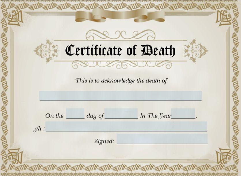 Death Certificate Template 06
