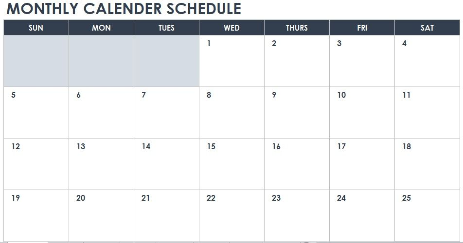 Monthly Calendar Schedule Template 05