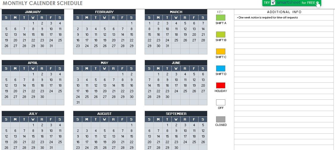 Monthly Calendar Schedule Template 09