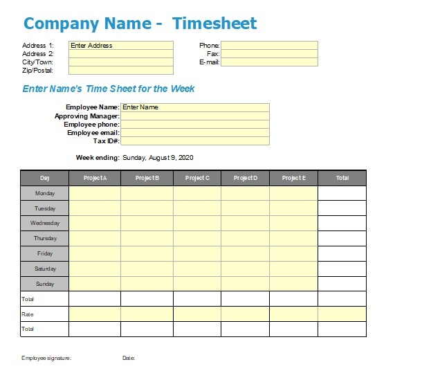 Time Tracking Sheet Template 01