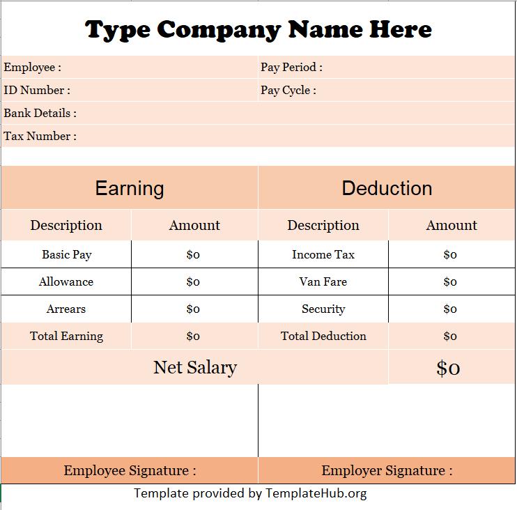 Salary slip template 01