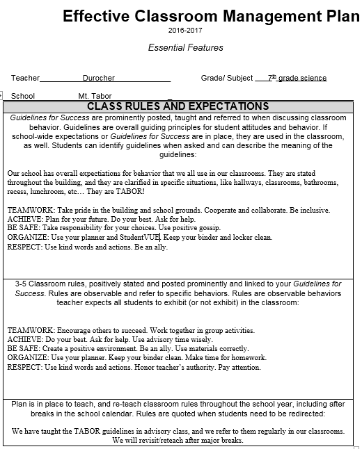 Classroom Management Plan Template 01