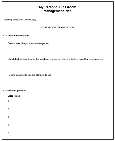 Classroom Management Plan Template 06