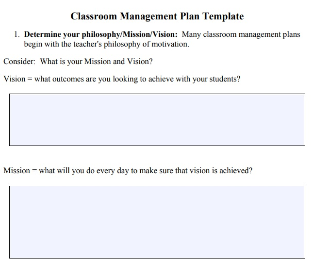 Classroom Management Plan Template 14