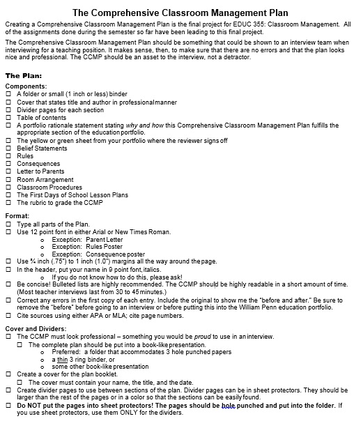 Classroom Management Plan Template 15
