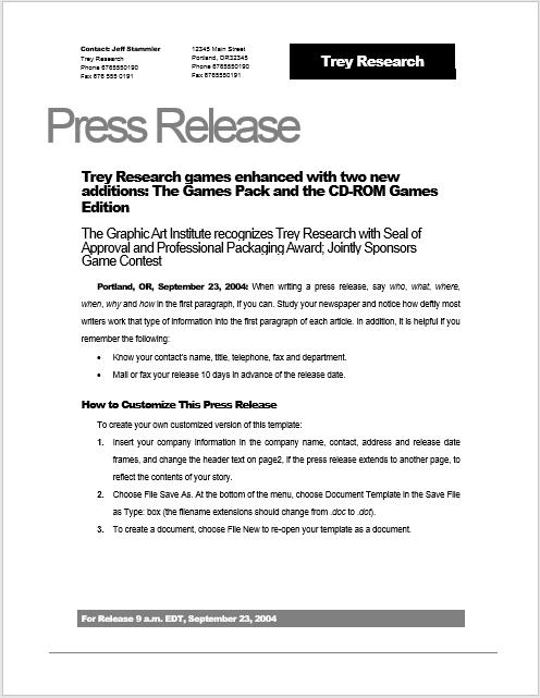 Press Release Template 02