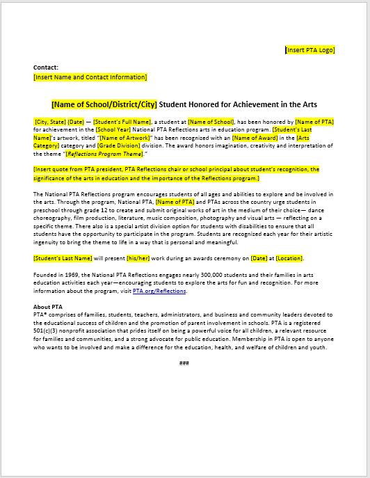Press Release Template 04