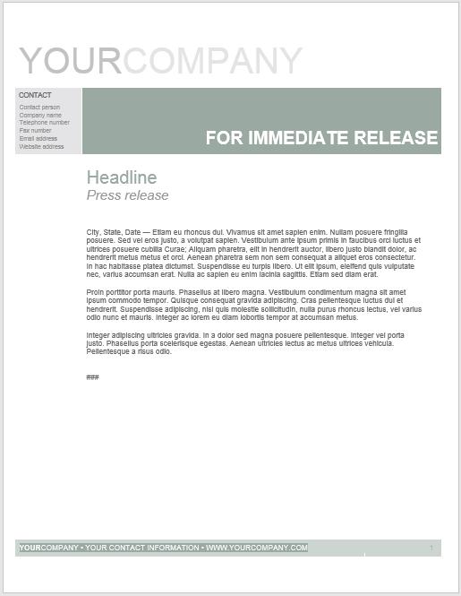 Press Release Template 09