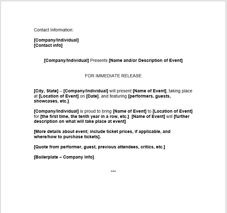 Press Release Template 12