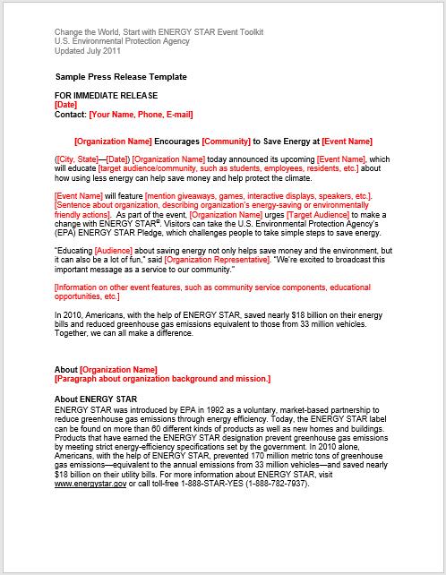 Press Release Template 14