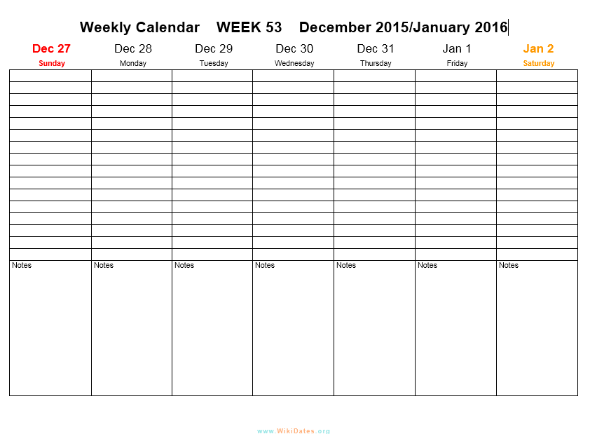 Weekly Calendar Template 04