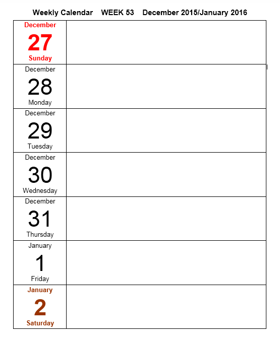 Weekly Calendar Template 07