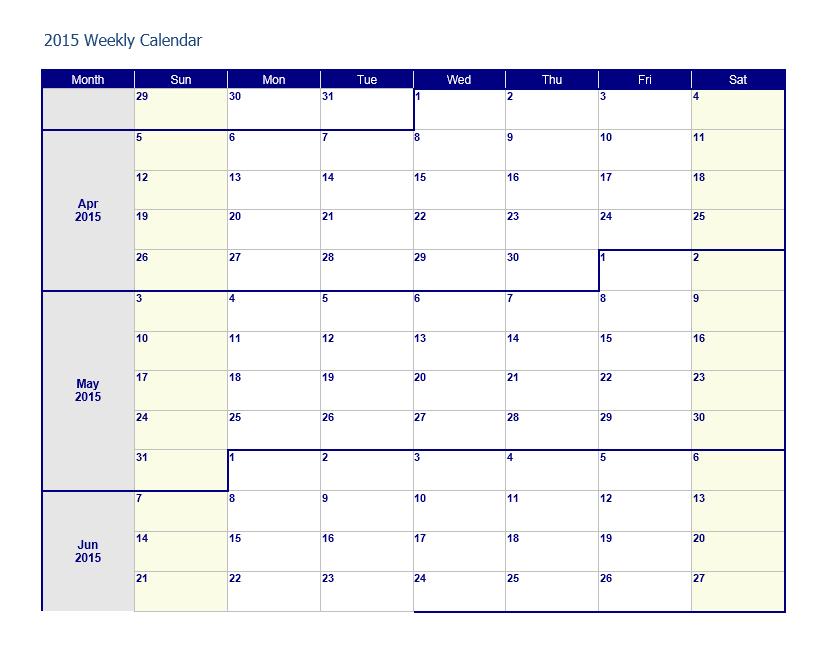 Weekly Calendar Template 08
