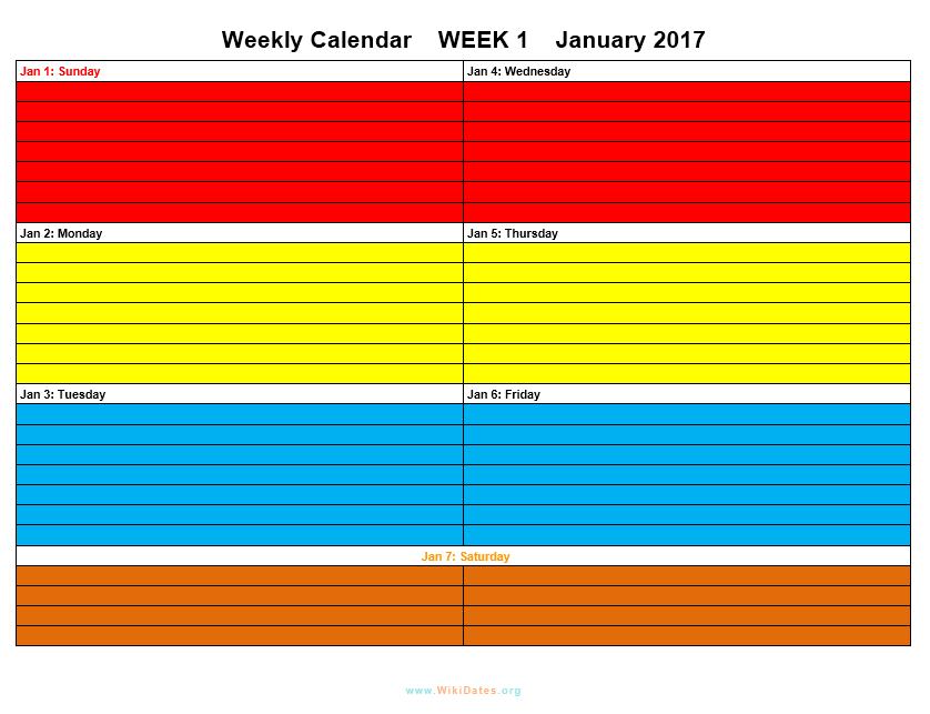 Weekly Calendar Template 12