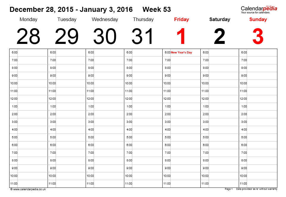 Weekly Calendar Template 13