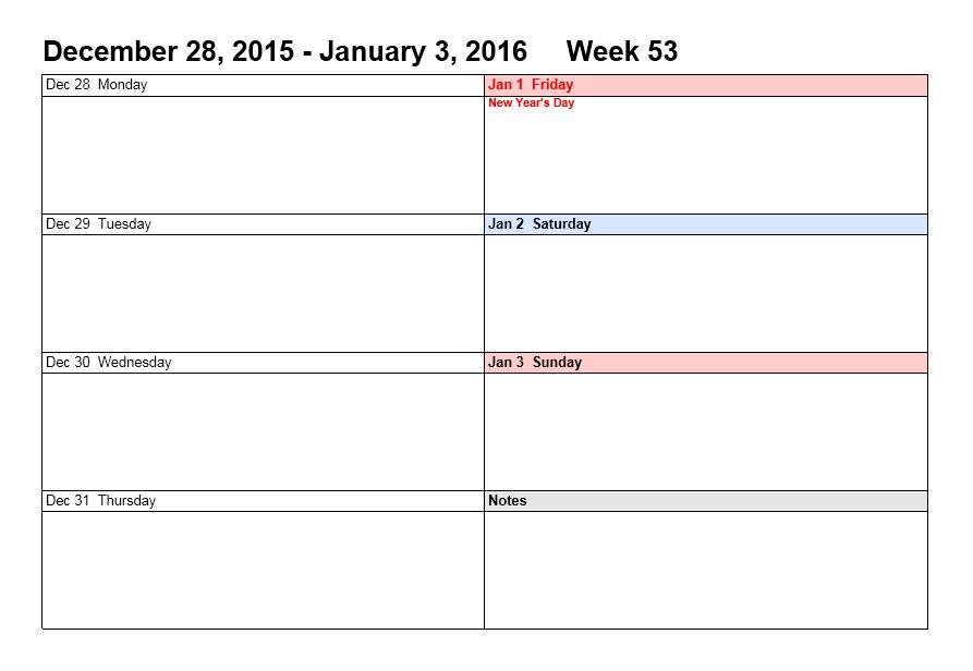 Weekly Calendar Template 16