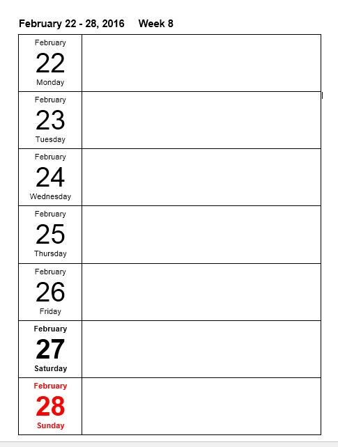 Weekly Calendar Template 17