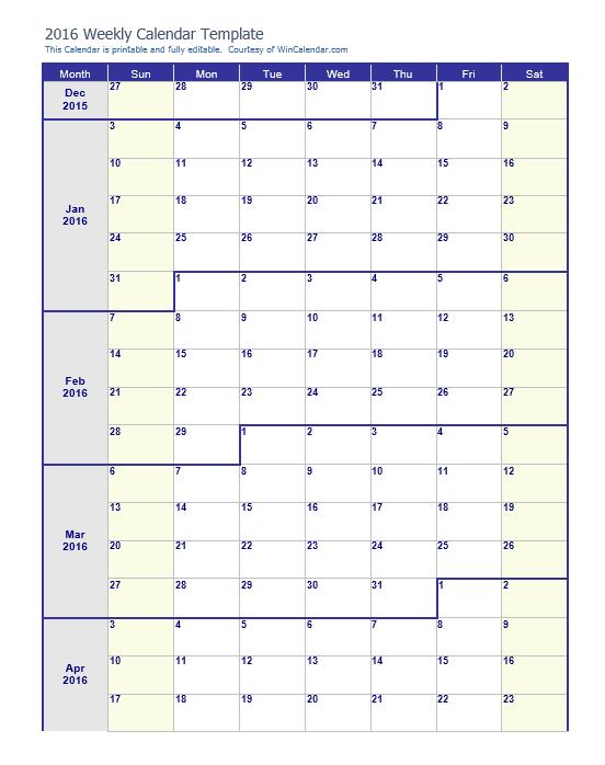 Weekly Calendar Template 19
