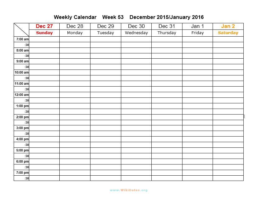 Weekly Calendar Template 20